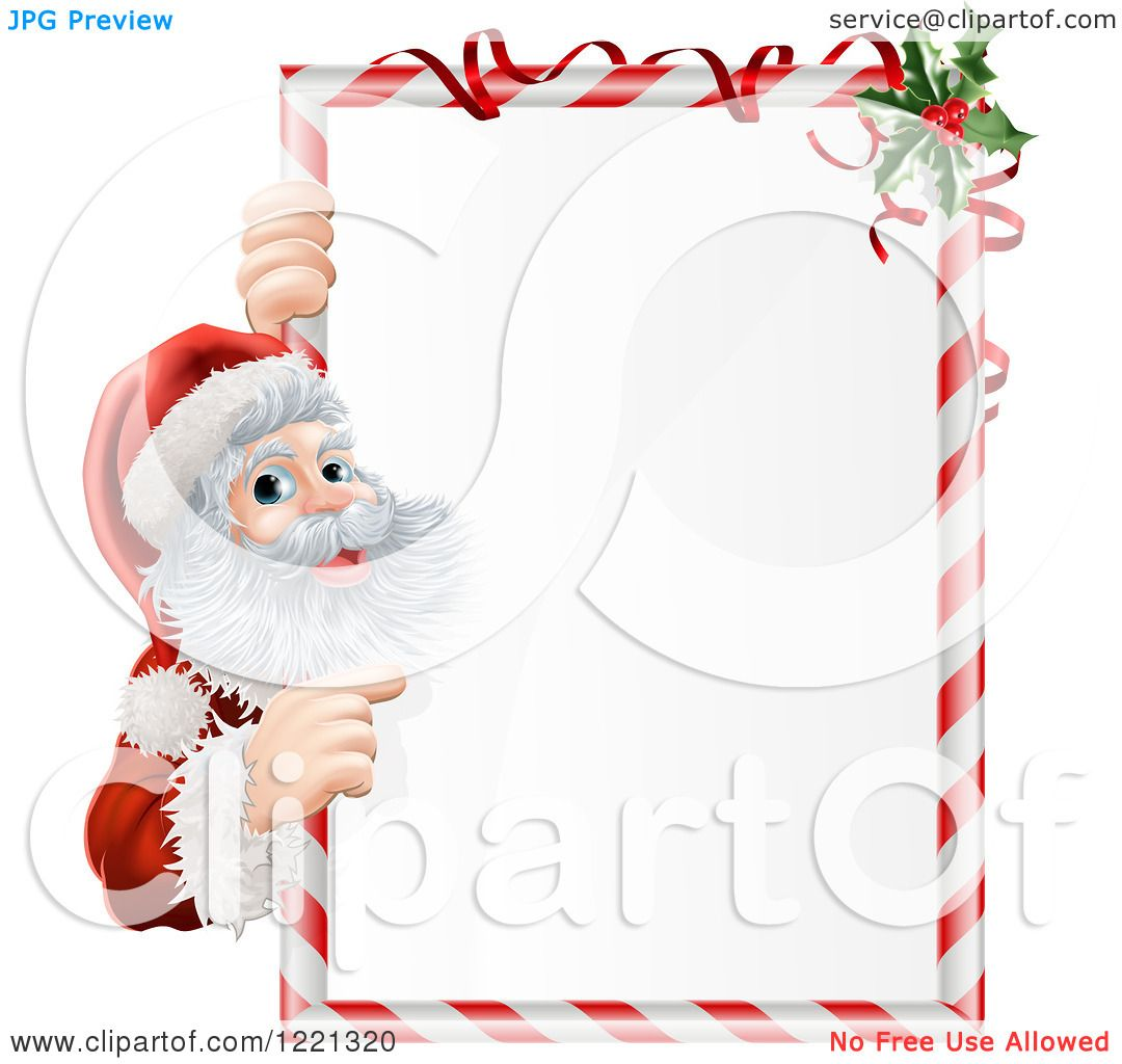 Clipart of Santa Claus Looking Around and Pointing to a Candy Cane.