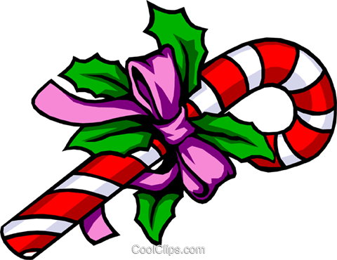 Christmas candy cane Royalty Free Vector Clip Art illustration.