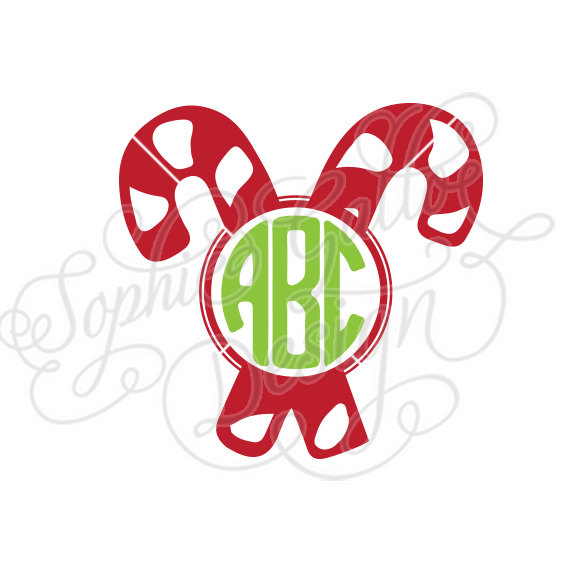 Candy Cane Christmas Monogram SVG DXF digital download file.
