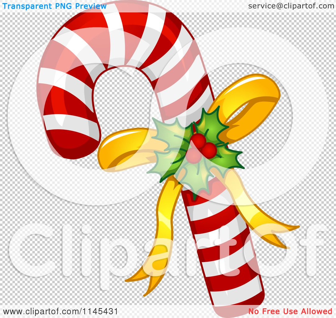 Cartoon of Holly and Bow on a Christmas Candy Cane.