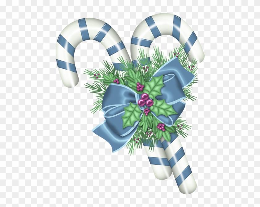 Christmas Blue Canes Clip Art Ⓒ.