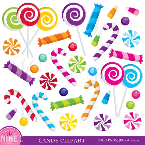 CANDY Clip Art / CANDY Clipart Downloads / Candy Theme Party, Candy  Scrapbook Clipart, Vector Candy, Wonka Party Clipart Download.