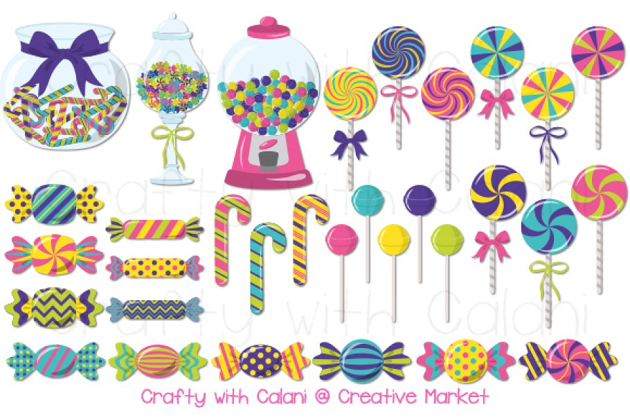 Cute Candy Clipart in Bright Color.