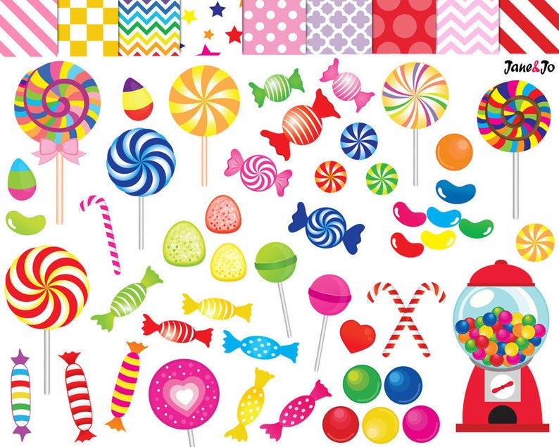 52 Candy clipart,candy clip art,printable,lollipop clipart,rainbow  candy,candy graphics,gumball machine clipart,sweet sugar clipart,lollipop.