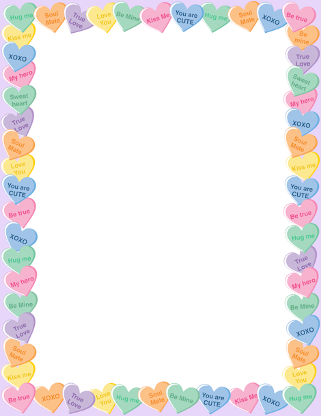Candy Heart Border Clipart.