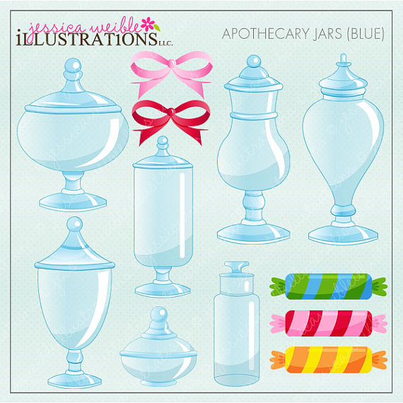 Apothecary Jars Blue Cute Digital Clipart for Invitations, Card.