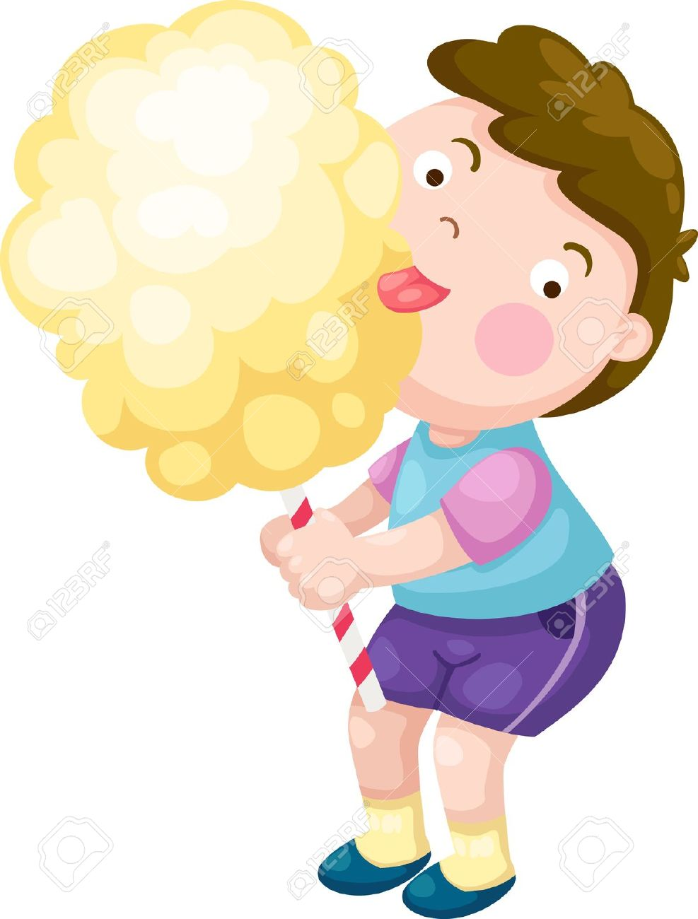 Boy With Candy Floss Vector Illustration On A White Background.