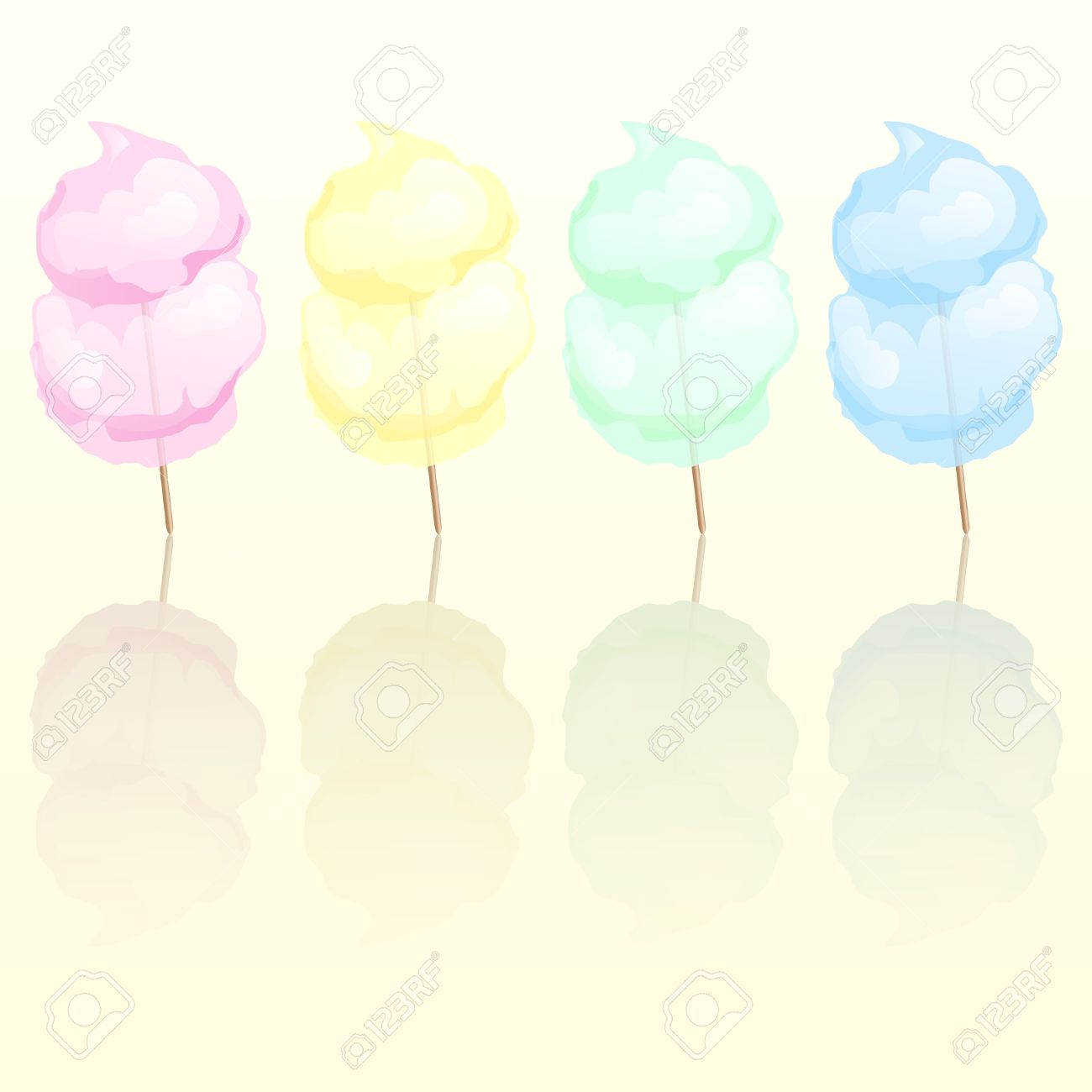 Candy Floss In Four Different Colours Reflected. EPS10 Vector.