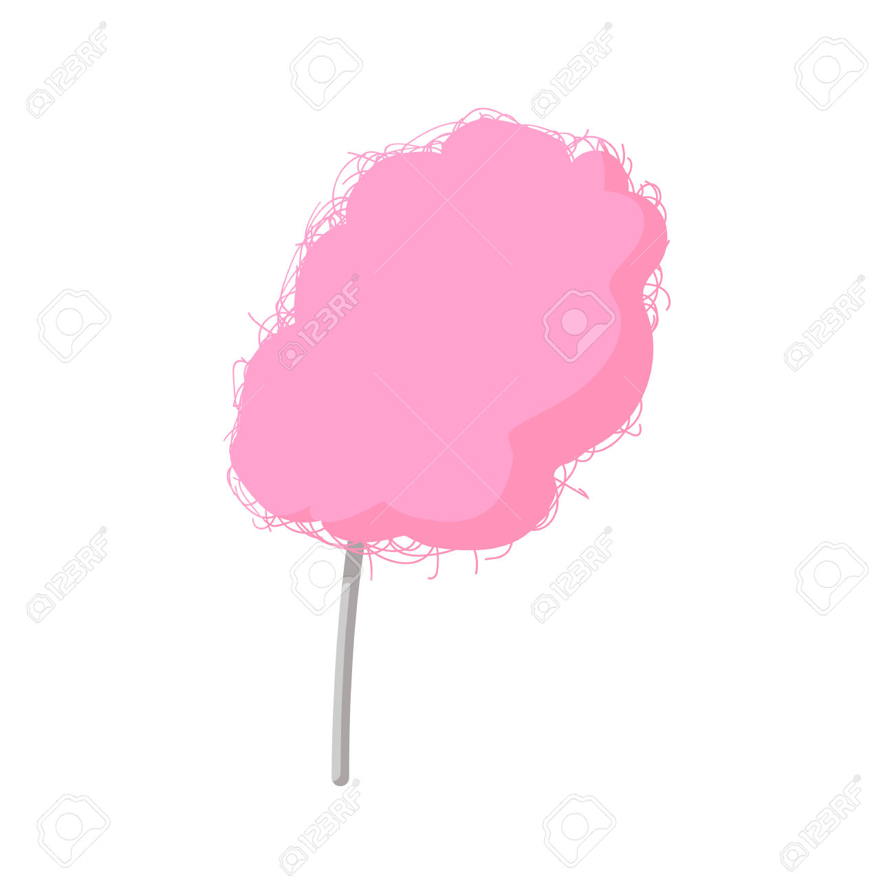 Pink Candy Floss Cartoon Icon On A White Background Royalty Free.