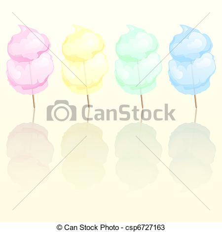 Vectors of Candy floss in four different colours reflected. EPS10.