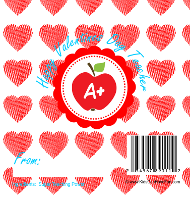 Valentines Day Candy Bar Wrapper for Teacher.