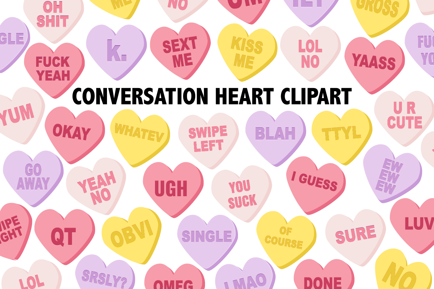 Conversation Candy Heart Clipart.