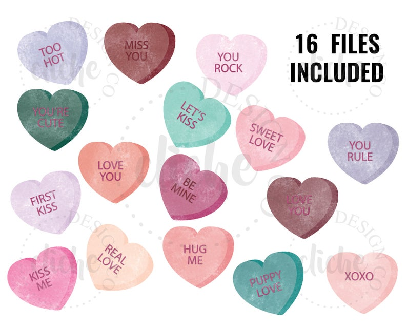 Valentine Sublimation Valentine Candy Hearts, Valentine Candy, PNG.