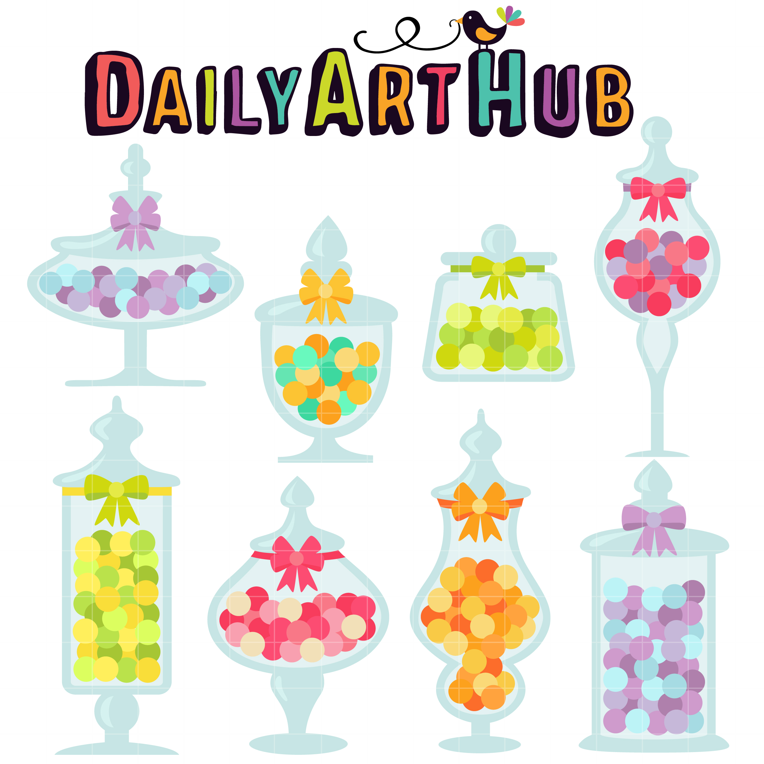 Candy Jars Clip Art Set.