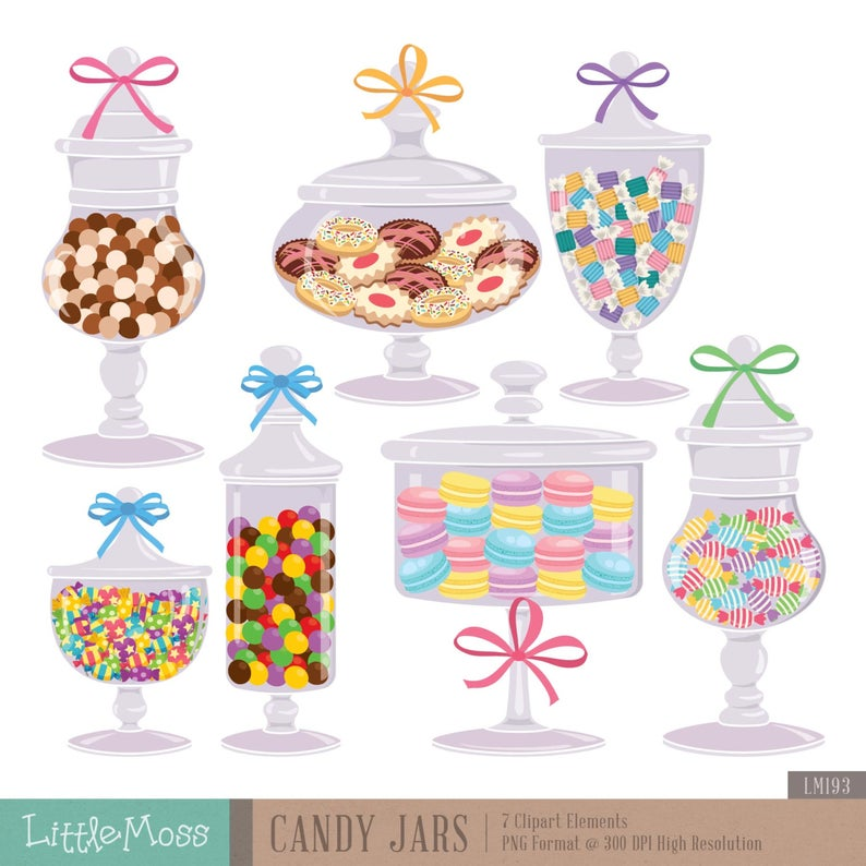 Candy Jars Digital Clipart, Cookie Jar Clipart.
