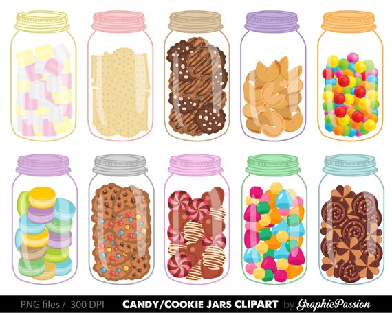 Sweet Jars Digital Clipart Cookie Jar Clipart Candy Jar Clipart in.