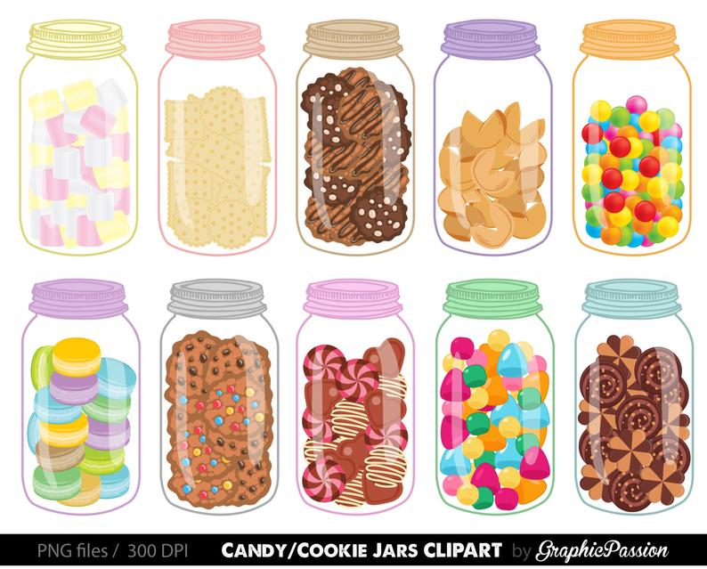 Sweet Jars Digital Clipart Cookie Jar Clipart Candy Jar Clipart.