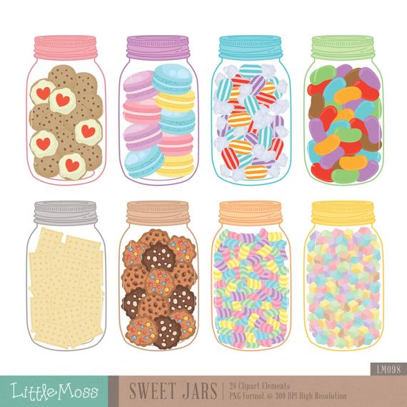 Sweet Jars Digital Clipart, Cookie Jar Clipart, Candy Jar Clipart.