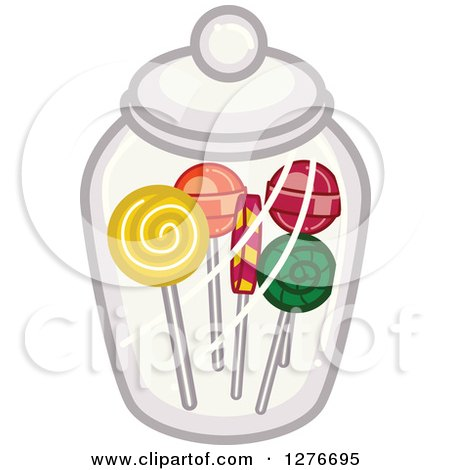 Clipart of Lolipops in a Candy Jar.