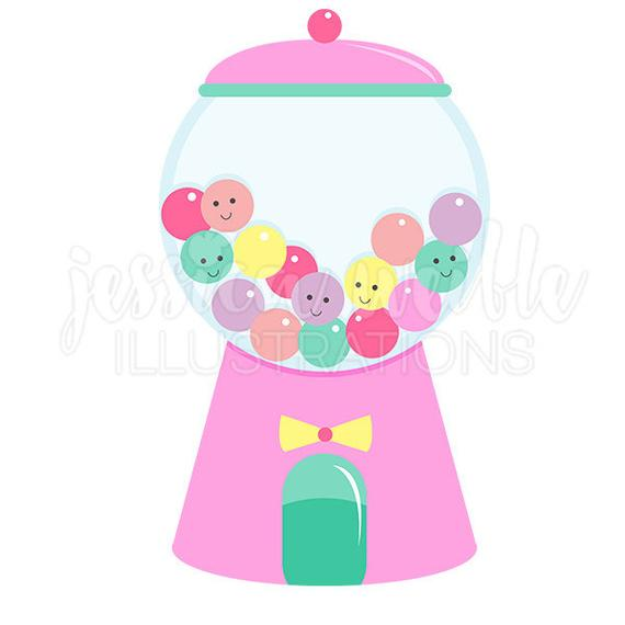 Girly Gumball Machine Cute Digital Clipart, Gumball Clip art, Candy.