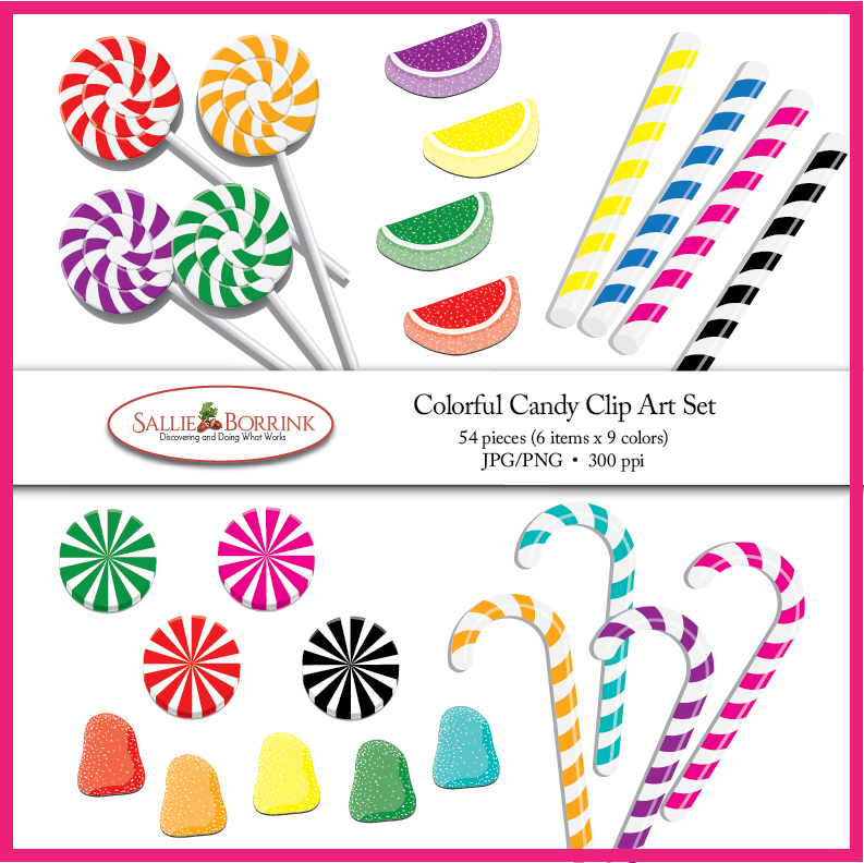 Colorful Candy Clip Art with Lollipops, Gumdrops, and Candy Sticks.