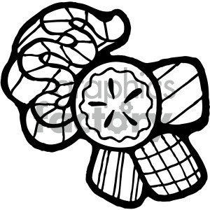 candy pieces black and white clipart. Royalty.