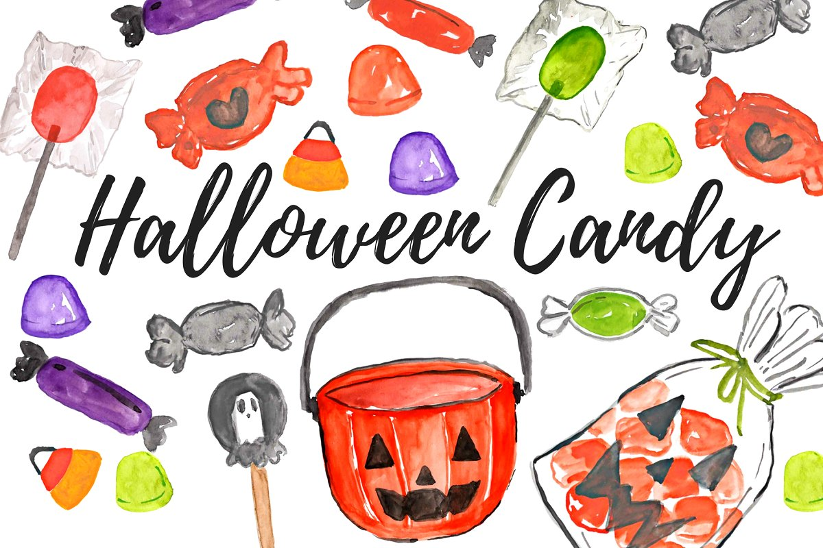 Watercolor Halloween Candy Clipart.