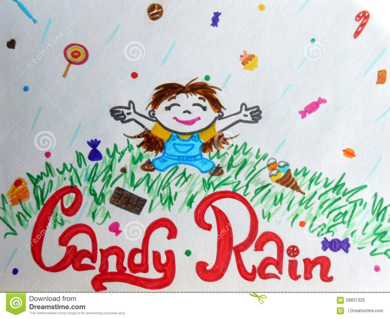 Candy Rain Stock Illustration.