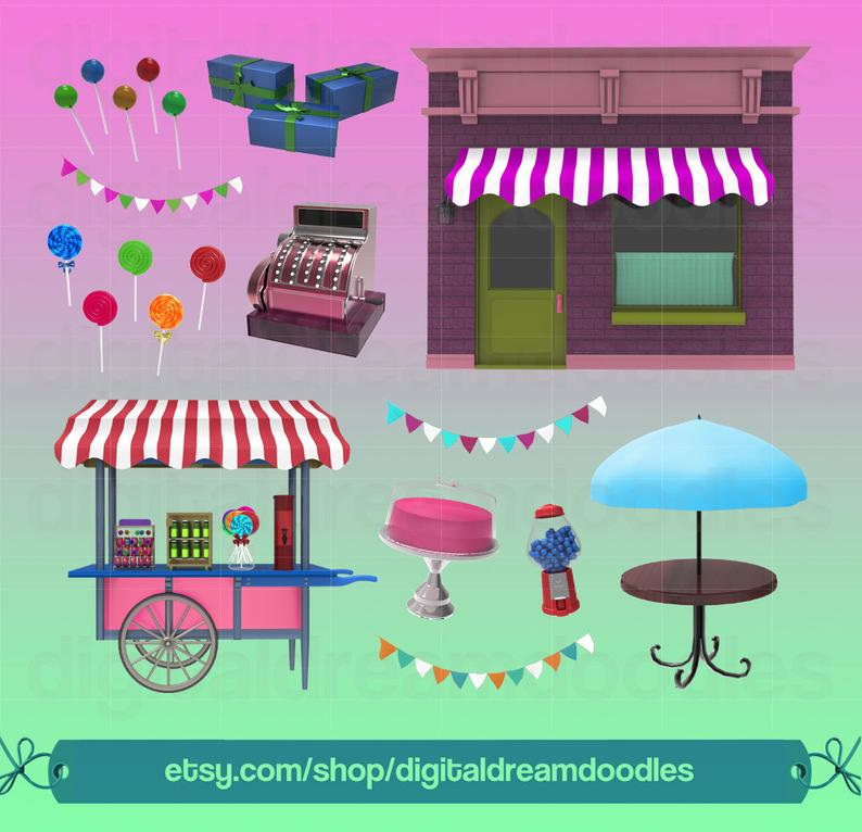 Candy Shop Clipart, Sweet Shop Clip Art, Lollipop PNG Image, Sweet Treat  Graphic, Candy Store Scrapbook, Gumball Machine Digital Download.