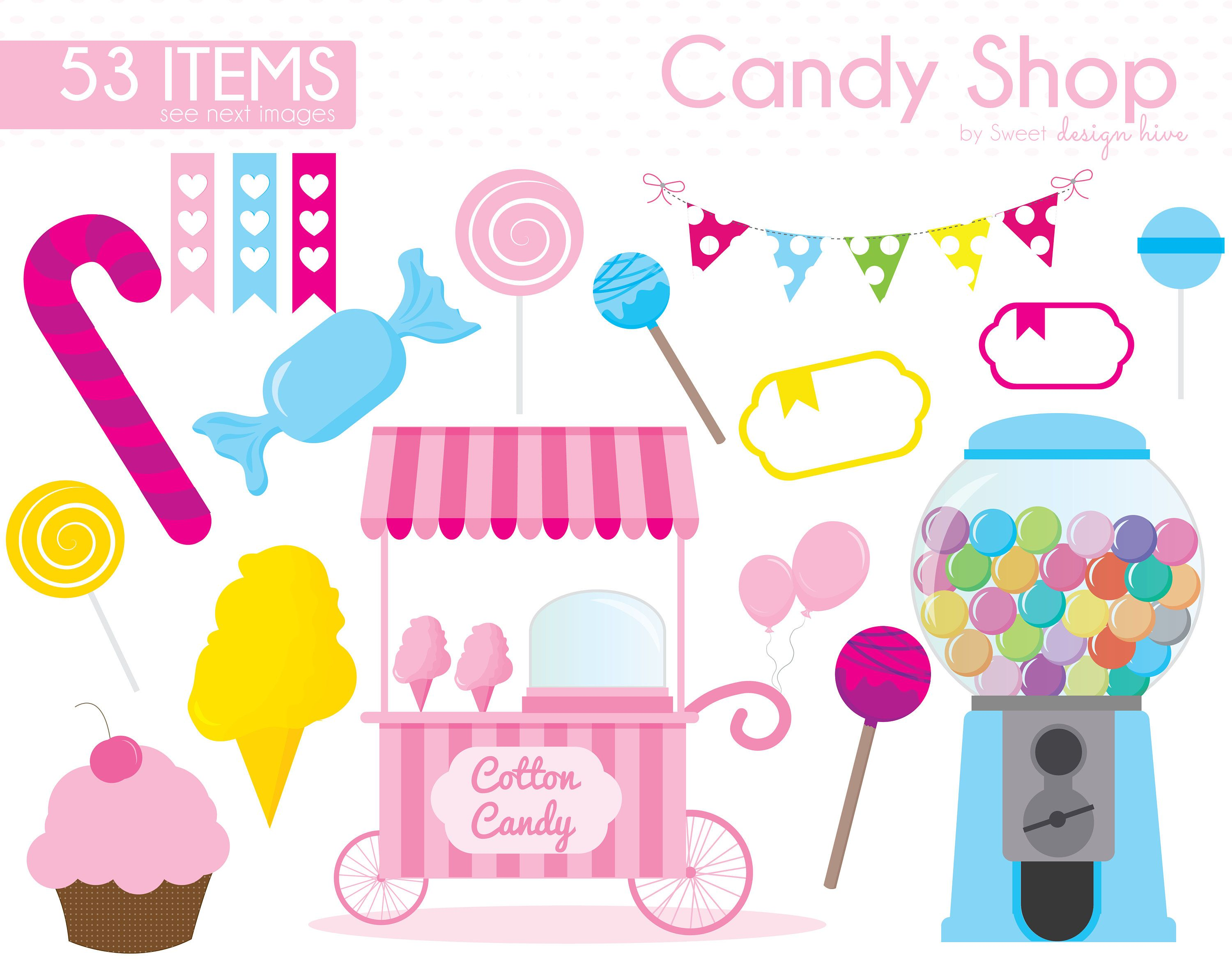 Candy Clipart, Candy Shop clipart, Lollipop Clipart, Sweet Shop.