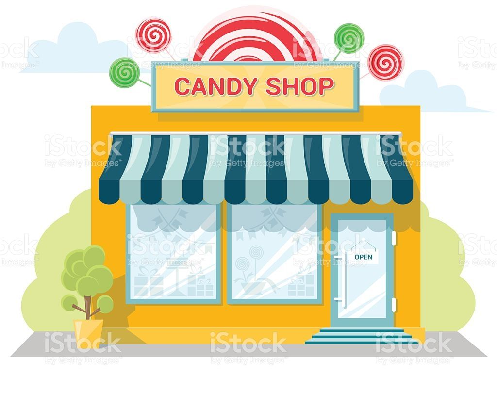 Facade candy store with a signboard, awning and products in.