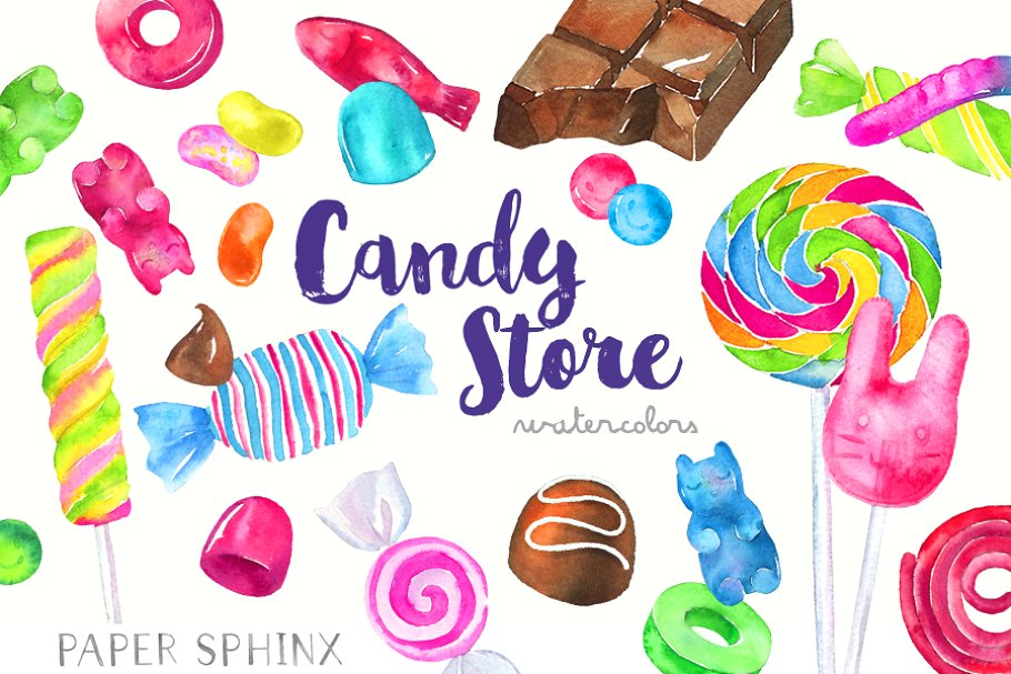 Watercolor Candy Shop Clipart.