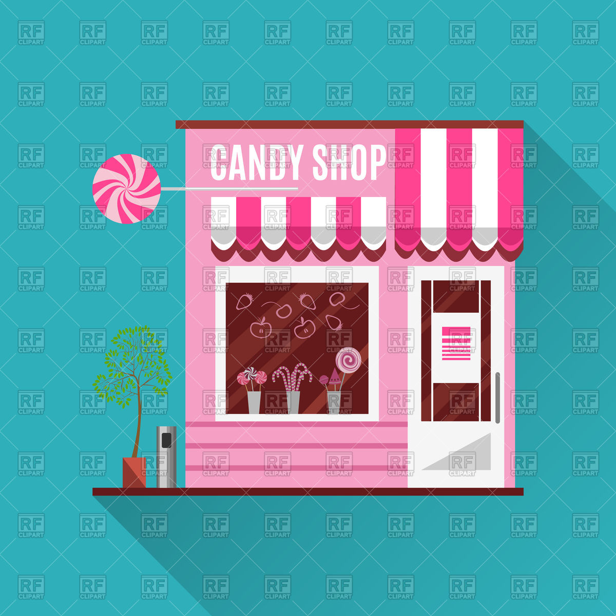 Candy shop in pink color Stock Vector Image.