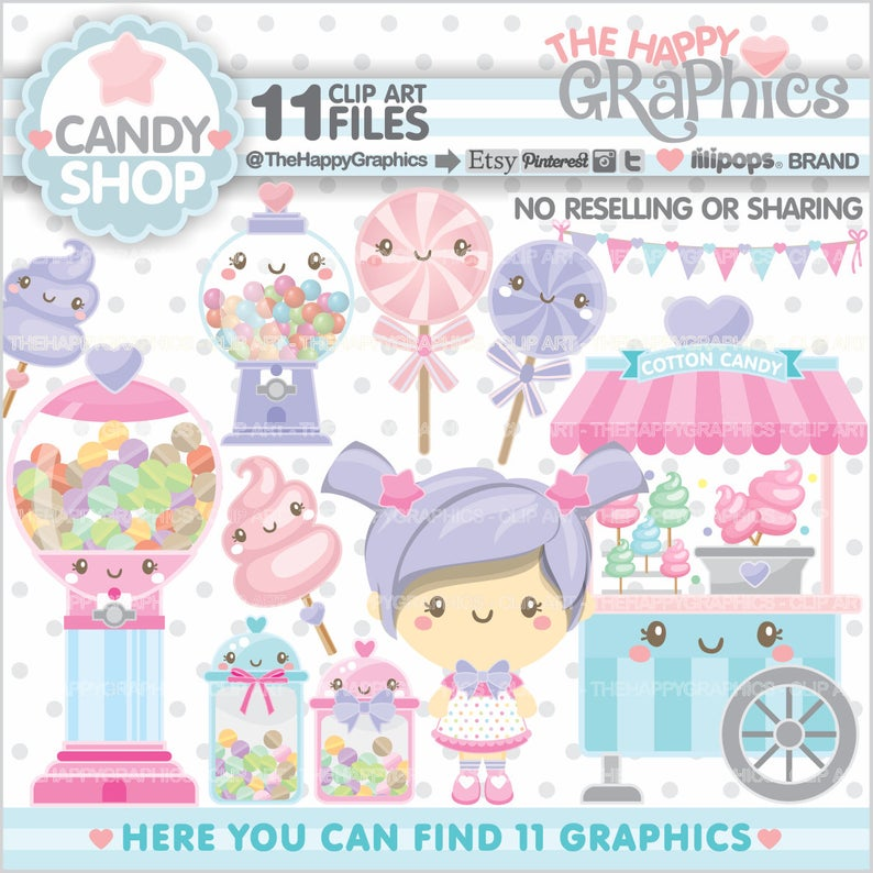 Candy Shop Clipart, Candy Graphics, COMMERCIAL USE, Candy Shop Graphics,  Candy Clipart, Planner Accessories, Sweet Shop, Sweet Clipart, Cute.