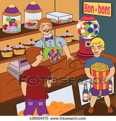 Inside candy shop Clipart.