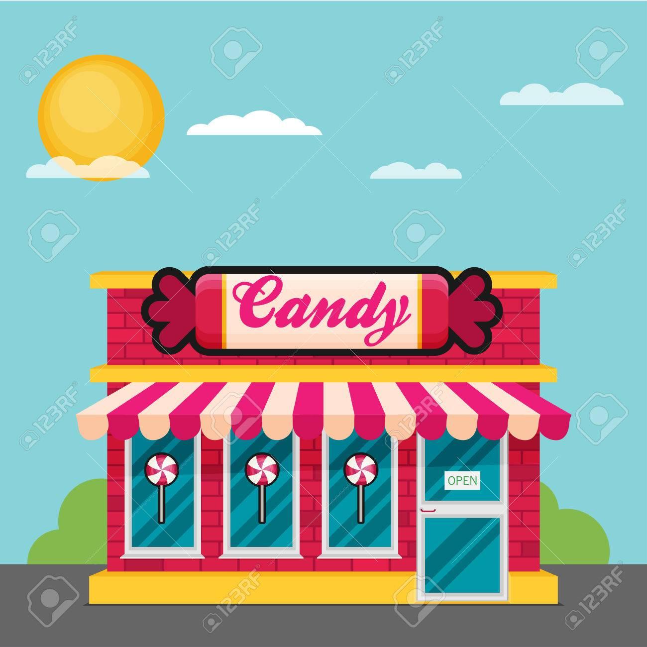 Facade of candy shop flat vector..