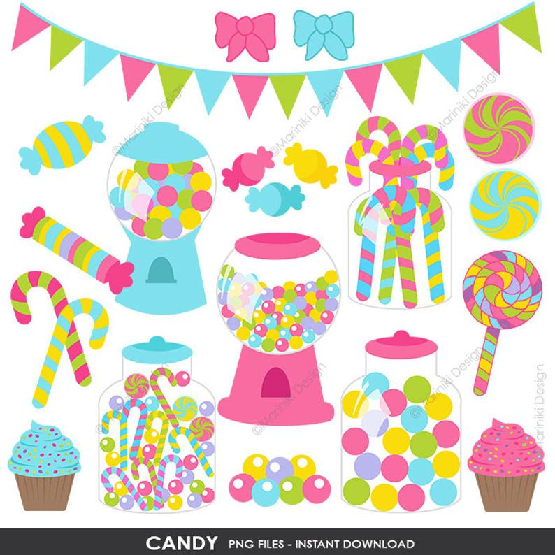 Candy Shop Clipart , Sweet Candies Clip Art, Candyland Birthday Graphics  for Invitations Printables Scrapbook INSTANT DOWNLOAD CLIPARTS C115.