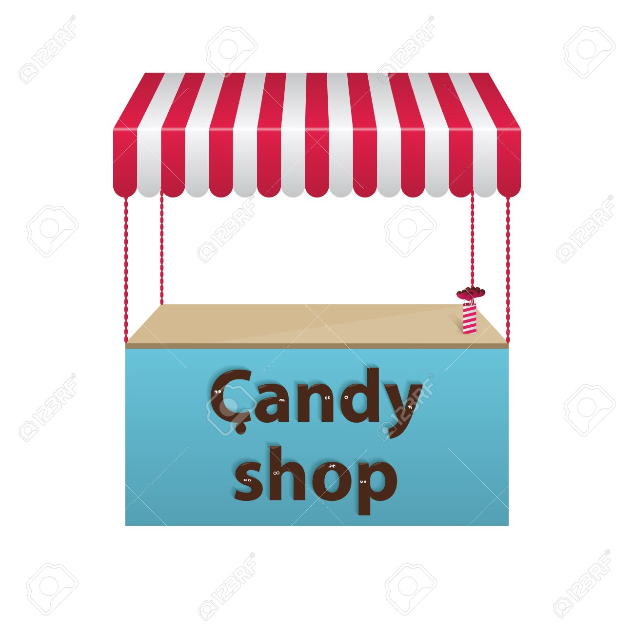 Candy shop. Chocolate text. Vector.