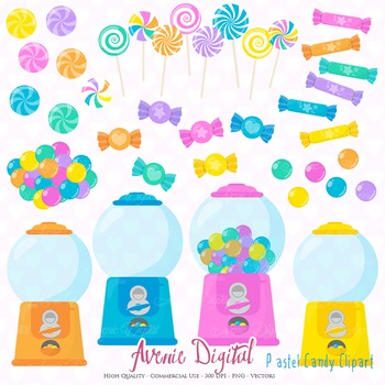 Pastel Candy Shop Clipart Scrapbook Commercial Use. Sweets candies graphics.