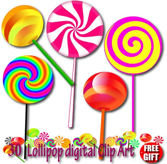 Lollipop clipart Chocolate lollipop invitation Candy lollipops.