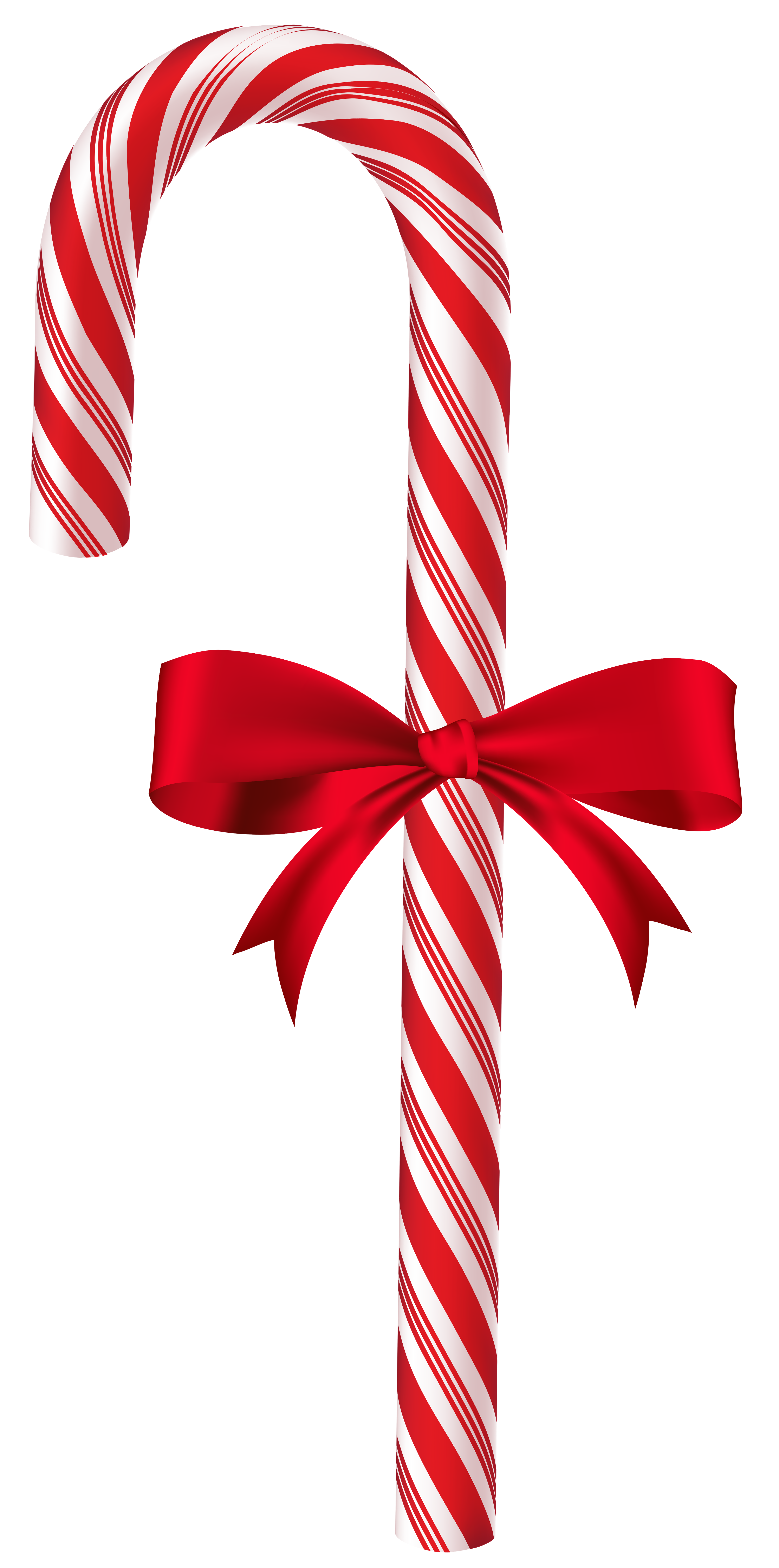 Candy Cane with Red Bow PNG Clip Art Image.