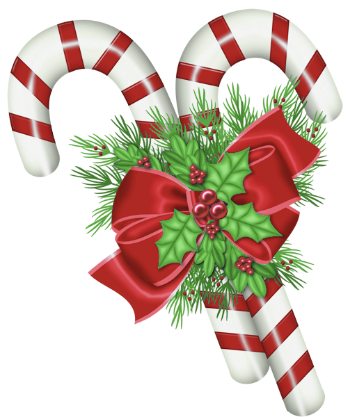 Transparent Christmas Candy Canes with Mistletoe PNG Clipart.
