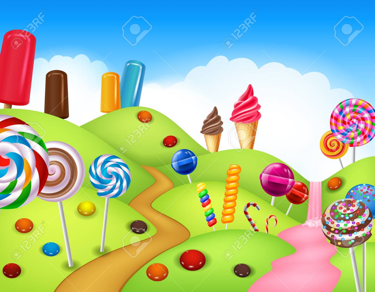 illustration of Beautiful candyland with cupcake,ice cream, lollipop...