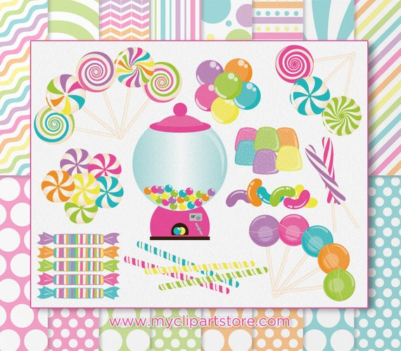 Candyland Clipart and Digital Paper Combo, Board Game, Candy Cane, Sweets,  Lollipops, Crush, Patterns, Commercial Use, Vector Clipart, SVG.