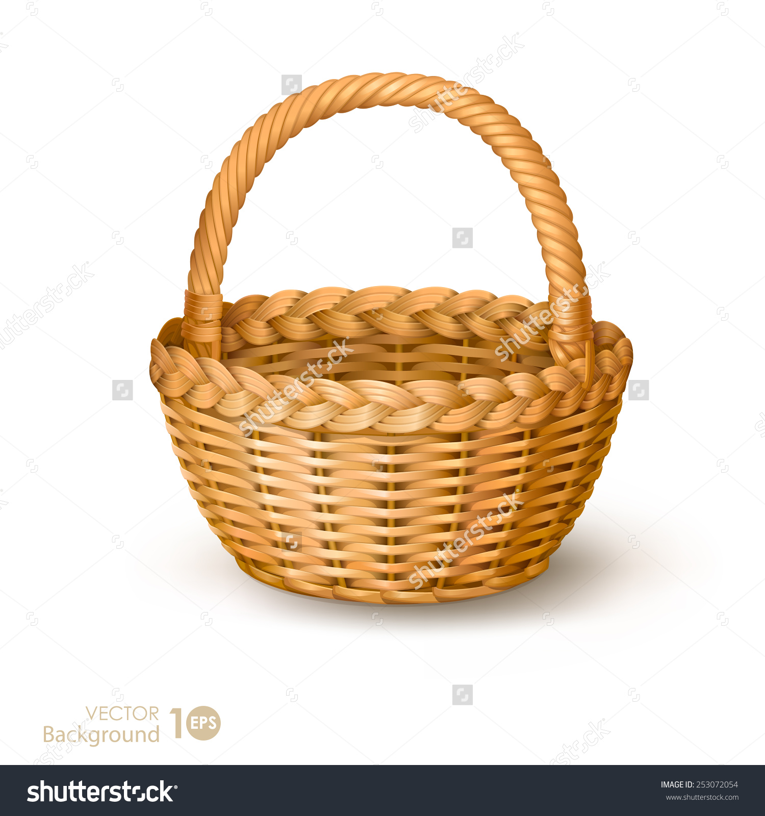 Wicker Basket Vector Stock Vector 253072054.