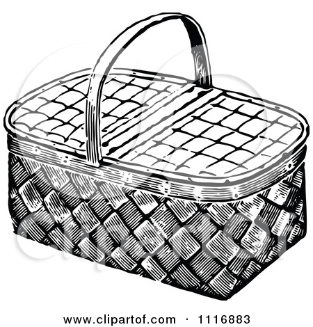 Clipart Of A Retro Vintage Black And White Basket.