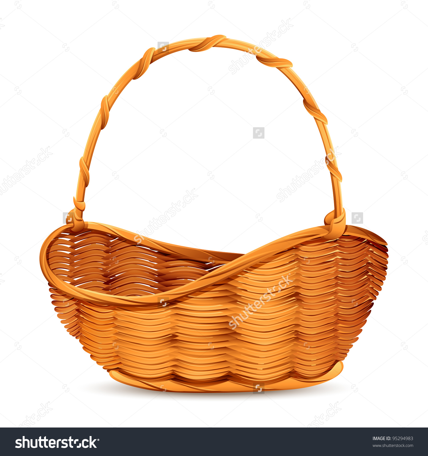Vector Illustration Wicker Basket On White Stock Vector 95294983.