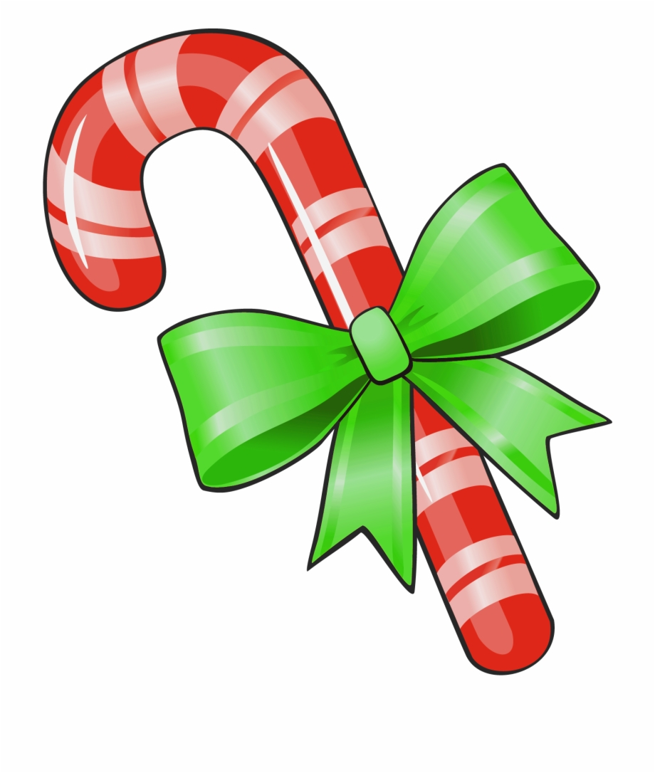 Transparent Christmas Candy Cane With Green Bow Png.