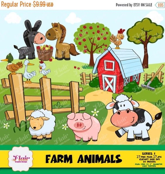 FARM ANIMALS Clipart, Barnyard, Apples, Apple Trees, Cow, Pig.