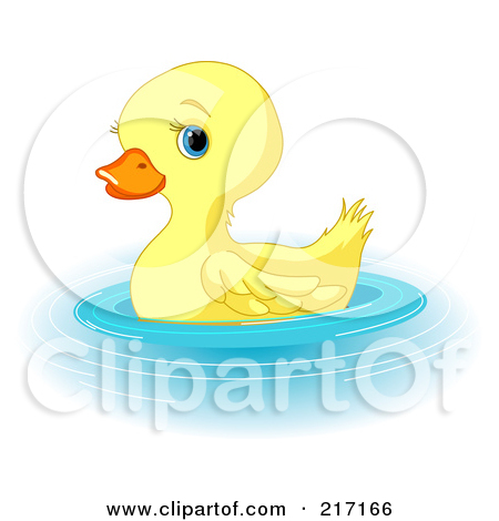 Clipart of a Cute Yellow Easter Duck with a Bonnet and Cane.